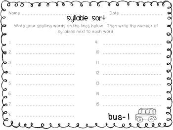 Weekly Spelling Word Work