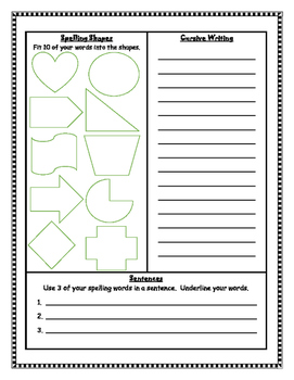 Weekly Spelling & Word Work Activities