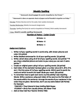 Weekly Spelling Words HW Assignments