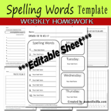 Weekly Spelling Words Homework Sheet Template
