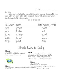 Weekly Spelling Words Pack