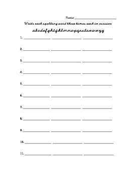 Weekly Spelling Work