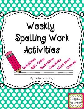 Weekly Spelling Work Practice Packet