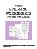 Weekly Spelling Worksheets for Kids with Autism