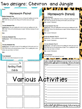 Weekly Spelling and Math Homework Packet