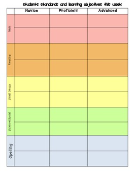Weekly Standards and Curriculum Planner