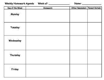 Weekly Student Agenda