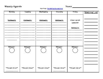 Weekly Student Agenda Sheet