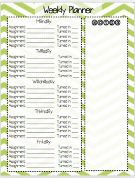 Weekly Student Assignment Planner