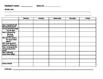 Weekly Student Checklist - Editable