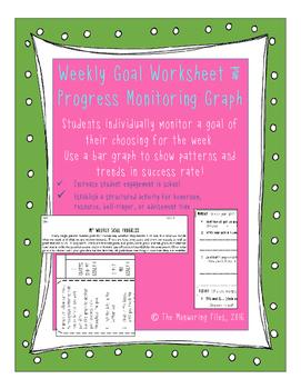 Weekly Student Goal worksheet and progress self-monitoring chart
