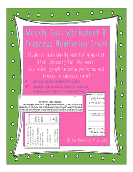 Weekly Student Goal worksheet and progress self-monitoring chart