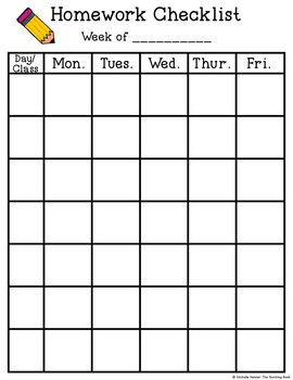 Weekly Student Homework Checklists Printable, Editable, and for Google Drive