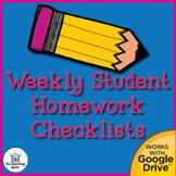 Weekly Student Homework Checklists Printable, Editable, an