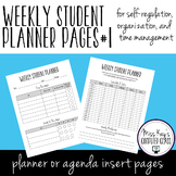 Weekly Student Planner Pages #1: Self-regulation, organization, time management