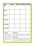 Weekly Student Planner Sheet- Blank