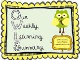 Weekly Student Progress Folder