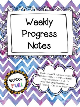 Weekly Student Progress Notes