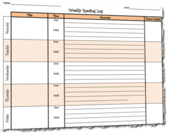 Weekly Student Reading Log Template