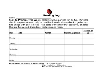 Weekly Student Reading Logs
