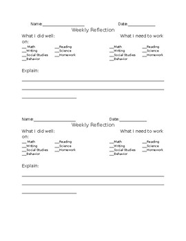 Weekly Student Reflection Form