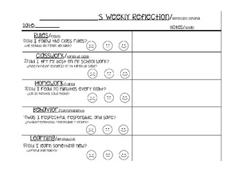 Weekly Student Reflection Sheet in English AND Spanish