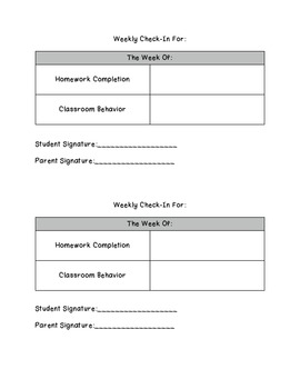 Weekly Student Reflection and Behavior/HW Check-In
