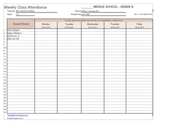 Elegant Weekly Student Sign In Sheet Template   Back To School