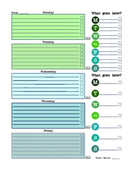 Weekly Student planner/tracker page