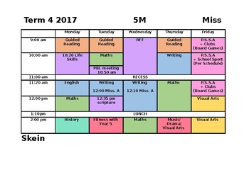 weekly subject timetable template by jessica skein tpt