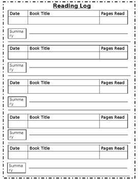 Weekly summary reading log editable by ty 39 d to teaching for Reading log with summary template