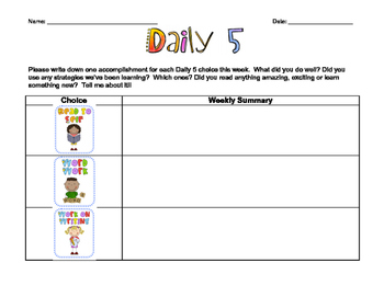Weekly Summary for Daily 5