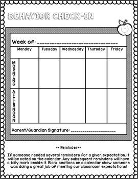 Weekly Summary and Behavior Calendar - US Version