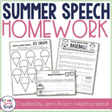 Weekly Summer Speech Therapy Homework!