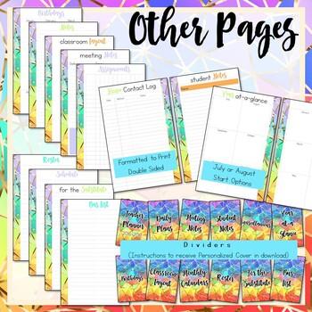 Weekly Teacher Planner, Half-Page Size