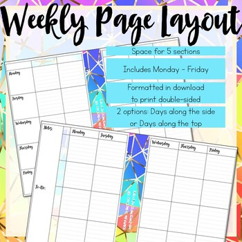 Weekly Teacher Planner, Half-Page Size