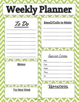 Weekly Teacher Planner Page in Chevron