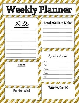 Weekly Teacher Planner Page in Glitter Stripes