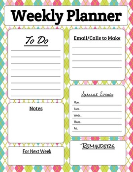 Weekly Teacher Planner Page in Spring Colors