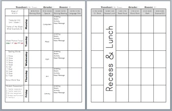 Weekly Teacher Plans (2pages/week)