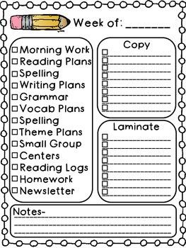 Weekly Teacher To-Do List