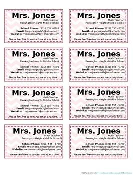 Pink Chevron Teacher Information Cards (Customizable Freebie)