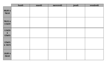 Weekly Template Schedule