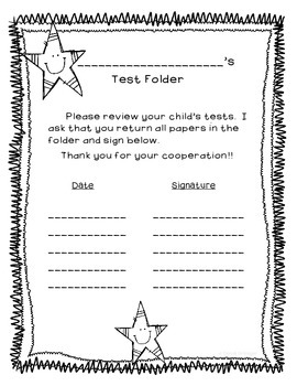 Weekly Test Folder Covers