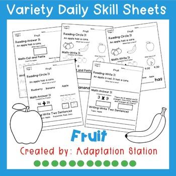Weekly Thematic Homework-Fruit Set