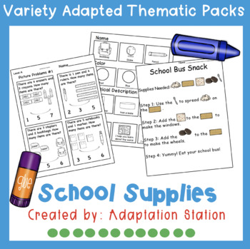 Weekly Thematic Pack: School Supply Theme