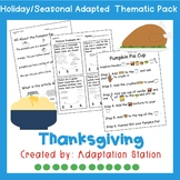 Thanksgiving Adapted Thematic Pack