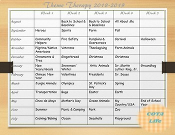 Weekly Theme Therapy 2018-2019 Calendar