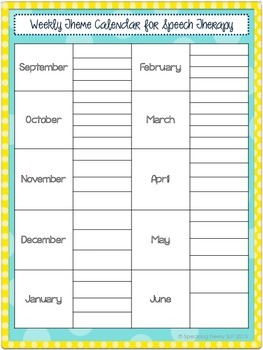 Weekly Themed Calendar for Speech Therapy