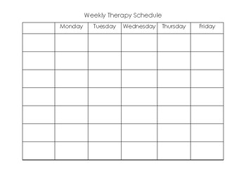Weekly Therapy Schedule